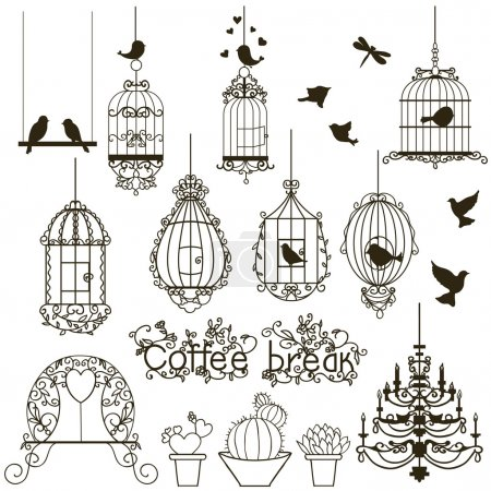 Photo for Vintage birds and birdcages collection. Isolated on white. Clipart. Vector. - Royalty Free Image