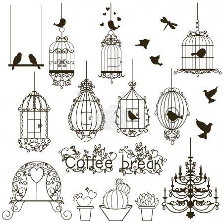 Photo pour Collection Oiseaux vintage et cages à oiseaux. Isolé sur blanc. Clipart. Vecteur . - image libre de droit