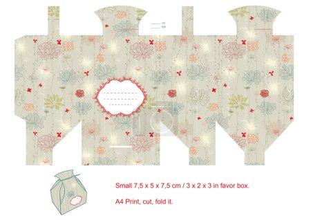 Ilustración de Favor caja troquelado. patrón floral. etiqueta vacía. - Imagen libre de derechos