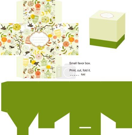 Illustration pour Favor boîte découpées. modèle naturel. étiquette vide. - image libre de droit
