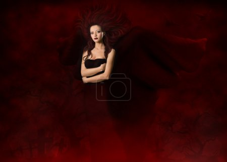 Dark angel. Beautiful gothic style woman with wing...