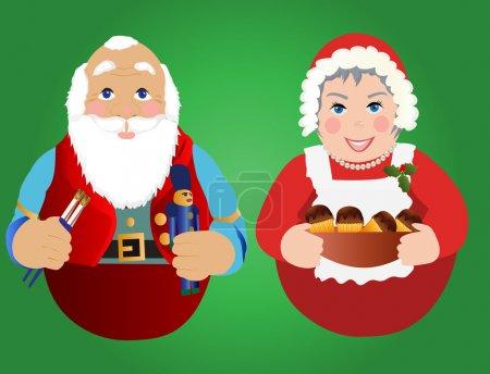 Illustration pour Ornements ou icônes du Père Noël et Mme Claus - image libre de droit