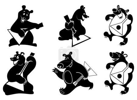 Illustration for Vector illustration of funny silhouettes of bears with balalaika. - Royalty Free Image