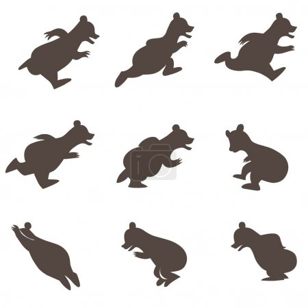 Illustration for Vector illustration of funny running and jumping bears silhouettes. - Royalty Free Image