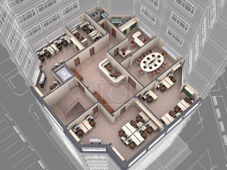 Photo pour Intérieur de l'immeuble de regard vers le bas. image 3D. - image libre de droit