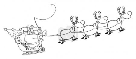 An Outline Of Santa In Flight With His Reindeer And Sleigh