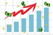 Raising Charts And Arrow With Money
