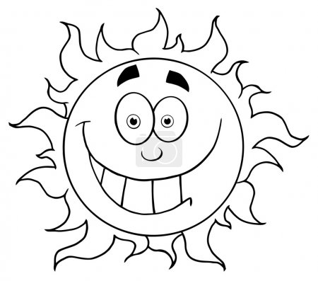 Photo for Outlined Smiling Sun Mascot Cartoon Character - Royalty Free Image