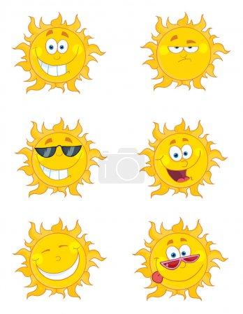 Photo pour Personnages de dessins animés heureux soleil mascotte - image libre de droit