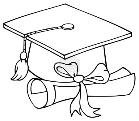 Photo pour Personnage de dessin animé cap et diplôme de graduation décrit - image libre de droit