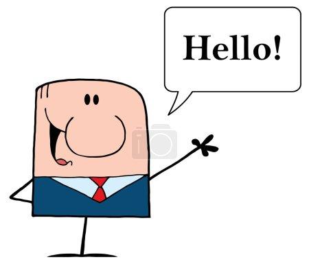 Caucasian Businessman Saying Hello