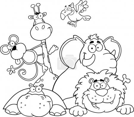 Outlined Jungle Animals