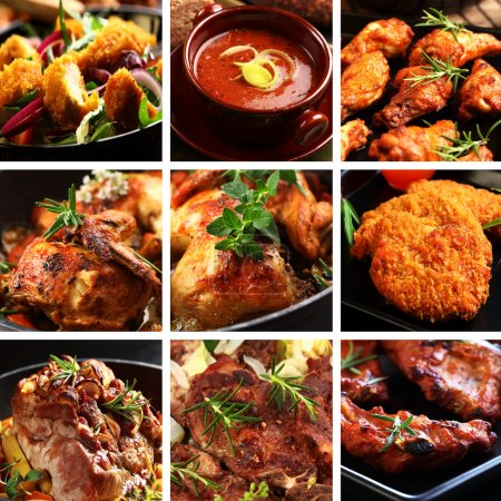Photo for Collection of different meat dishes - soup, schnitzel, BBQ, chicken wings - Royalty Free Image