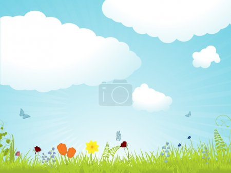 Illustration for Spring flower background with blue sky, butterflies and fluff clouds - Royalty Free Image