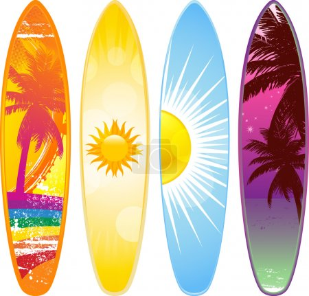 Illustration for Surfboard set with 4 tropical designs - Royalty Free Image