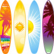 Surfboard set with 4 tropical designs