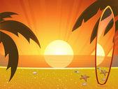 Summer sunset and surfboard