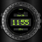 Black digital watch showing time date and temperature with compass