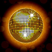 Gold disco ball on a glowing background