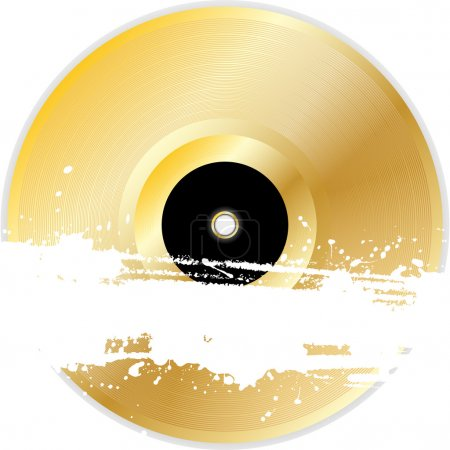Gold vinyl record with grunge banner