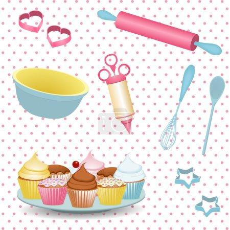 Illustration pour Matériel de cuisson rétro et cupcakes sur fond à pois - image libre de droit