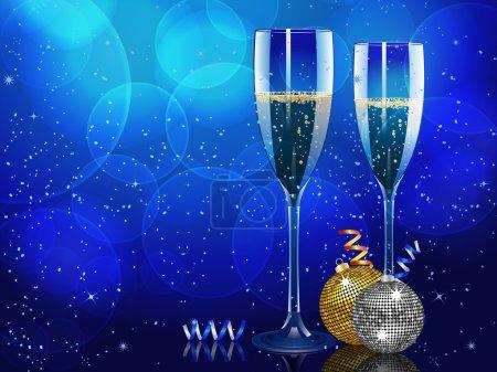 Illustration pour Flûtes à champagne sur fond bleu avec boules et banderoles de Noël - image libre de droit