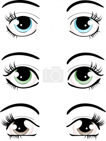 Illustration for Set of different shaped female eyes and brows - Royalty Free Image