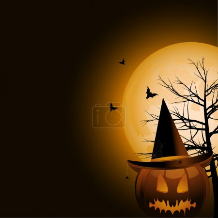 Halloween pumpkin witch and full moon