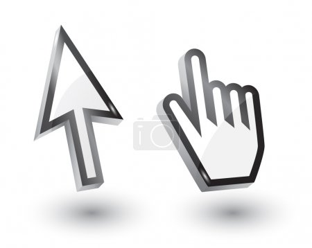 Vector mouse arrow and hand pointers with shadow,3...