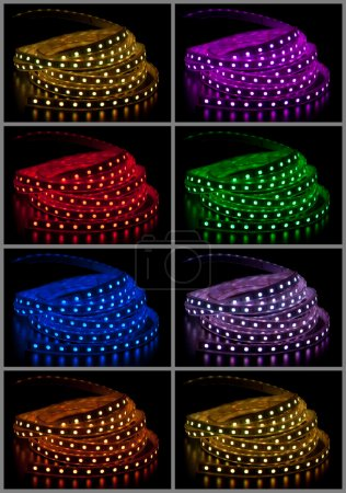 Photo for Collage of glowing LED garland on black background - Royalty Free Image
