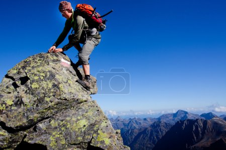 Foto de Joven escalar la Cordillera - Imagen libre de derechos