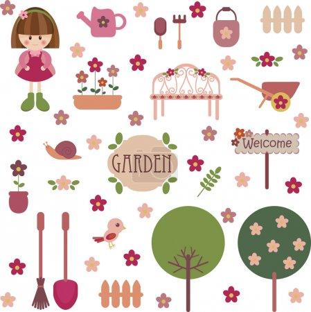 Illustration pour Ensemble de jardin jeune fille mignonne - image libre de droit