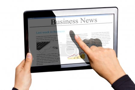 Photo for Touchpad with business news isolated on white - Royalty Free Image