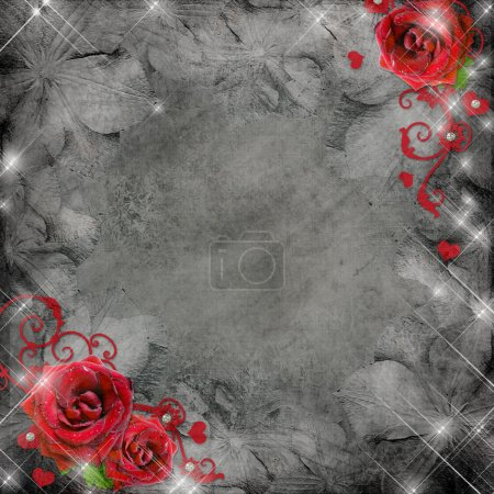 Photo for Greeting card with red roses and hearts on the grey background (1 of set) - Royalty Free Image