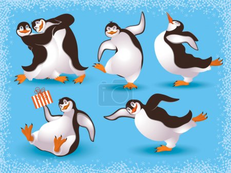 Illustration for Funny dancing penguins - Royalty Free Image