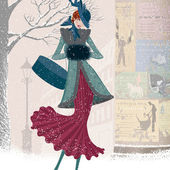 Illustration of elegantly dressed woman with box walking down the street in blizzard