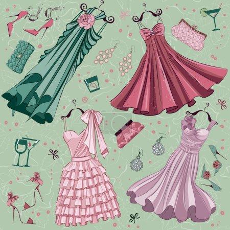 Set of women fashion clothes ans accessories