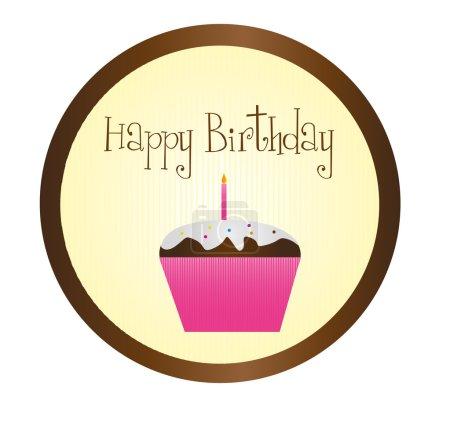 Illustration pour Joyeux anniversaire avec cupcake sur fond brun. vecteur - image libre de droit
