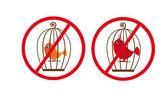 Ptáci klece zakázáno symbol