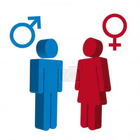 Men and women sign over white background. vector...