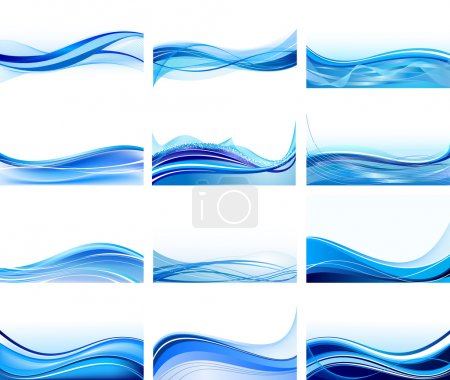 Illustration for Set of abstract blue backgrounds vector - Royalty Free Image