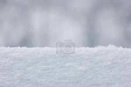 Photo pour Frais Texture de neige fond Gros plan, Grand Motif Macro détaillée, Tendre Bokeh, Horizontal - image libre de droit