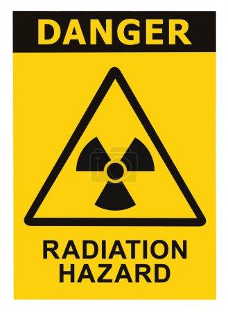Radiation hazard symbol sign of radhaz threat alert icon, black yellow triangle signage text isolated