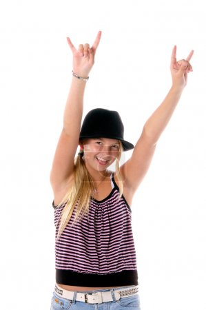 Young girl in cute hat and cloths flashing the Raw...