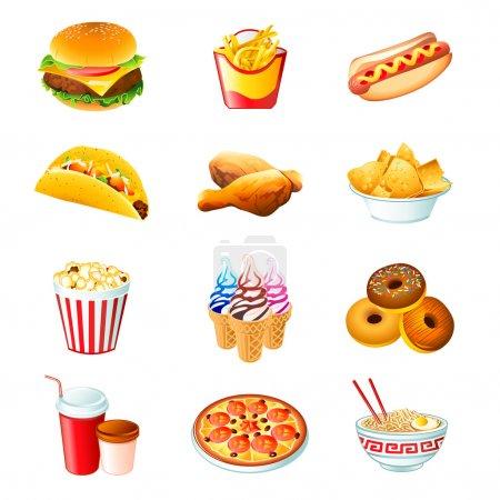 Photo pour Icônes colorées avec des repas de restauration rapide isolés - image libre de droit