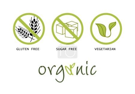 Healthy food symbols - gluten free, sugar free, or...