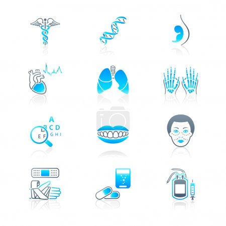 Illustration for Medical symbols, specialties, human organs and health-care objects - Royalty Free Image