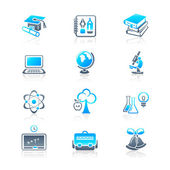 School and college education objects; tools and science symbols vector icon set