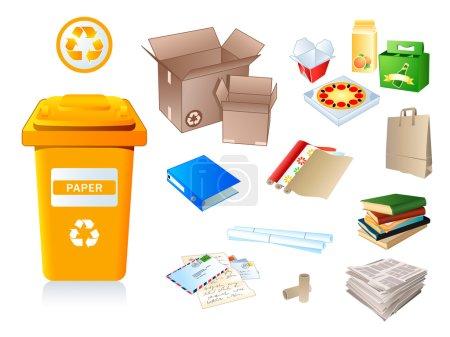 Illustration pour Déchets de papier et déchets recyclables - image libre de droit