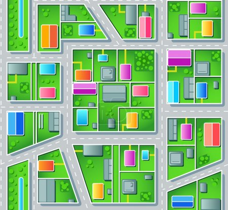 Illustration for Seamless city suburb plan with houses, trees and roads - Royalty Free Image